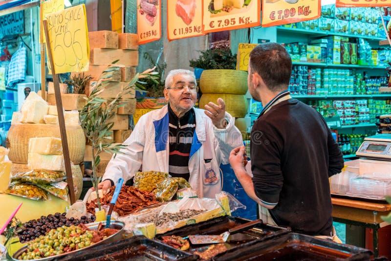 The market of Ballarò in Sicily, Italy stock photography