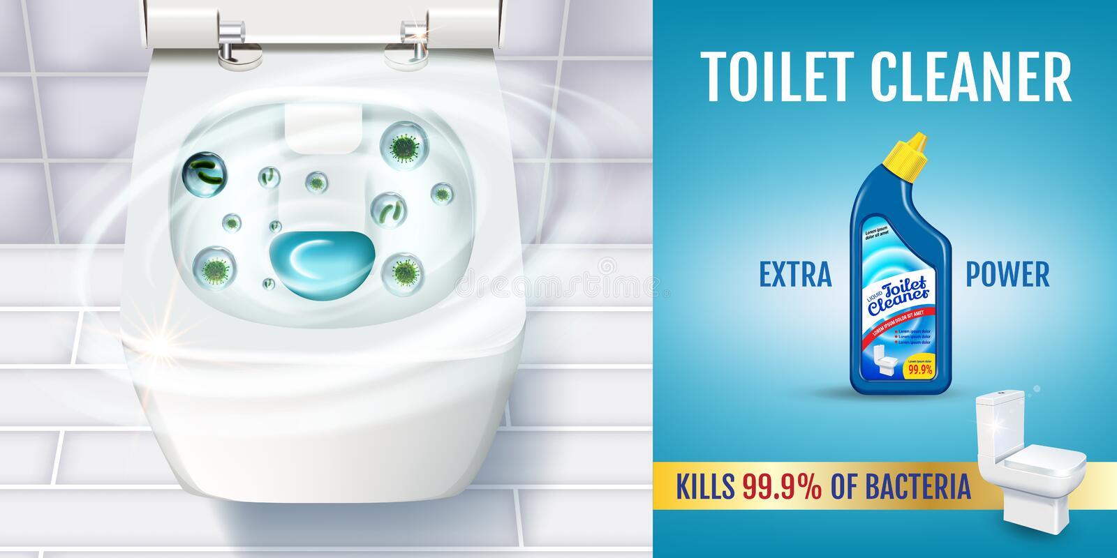 Fresh fragrance toilet cleaner gel ads. Vector realistic Illustration with top view of toilet bowl and disinfectant container. Hor vector illustration