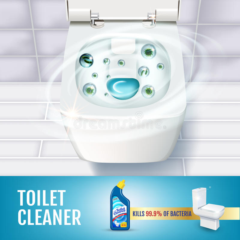 Fresh fragrance toilet cleaner gel ads. Vector realistic Illustration with top view of toilet bowl and disinfectant container. Pos stock illustration