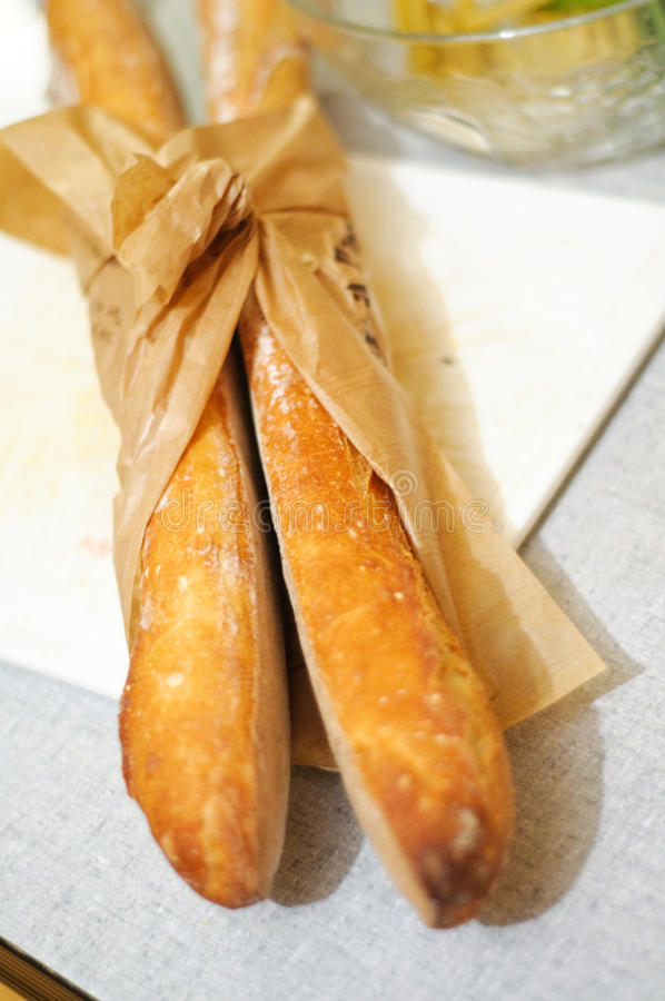 Fresh french baguettes royalty free stock photo