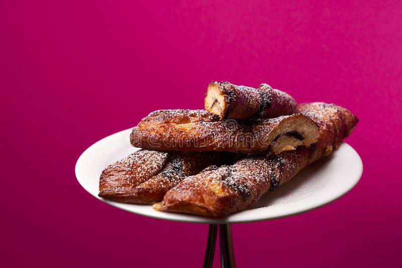 Fresh French pastry, close-up stock images