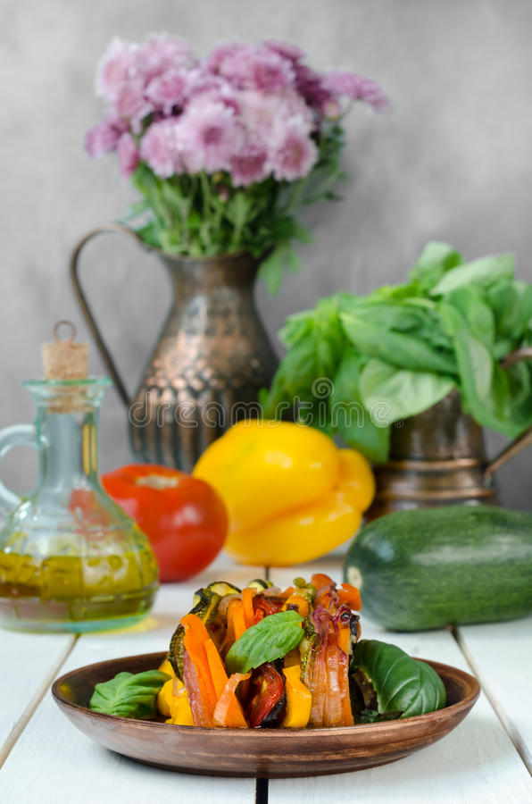 Fresh French ratatouille in crockery plate, still life. Fresh French ratatouille in crockery plate royalty free stock photo