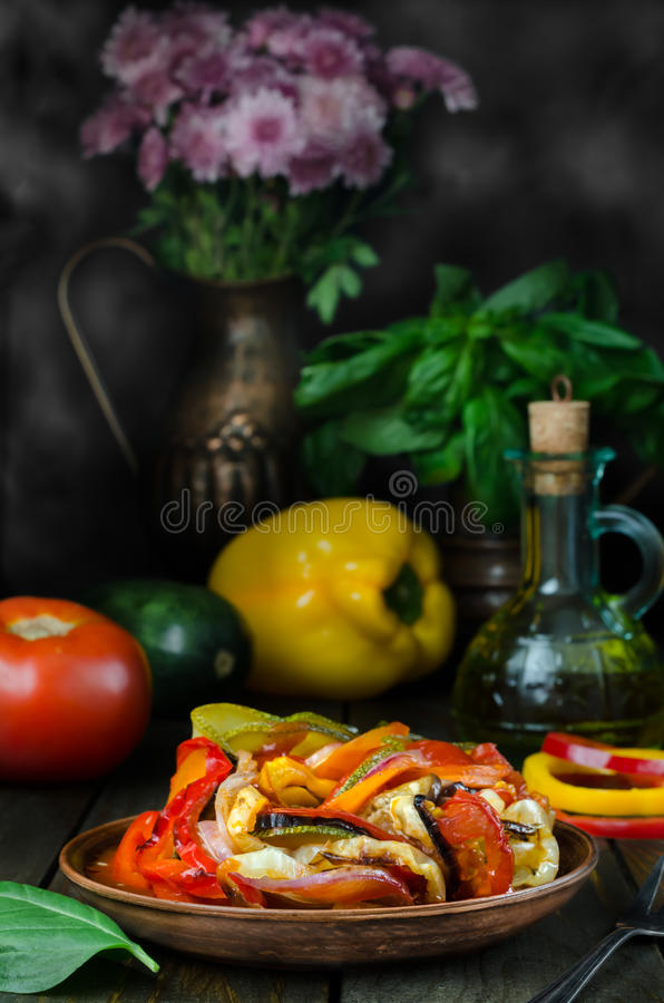 Fresh French ratatouille in crockery plate, still life. Fresh French ratatouille in crockery plate royalty free stock image