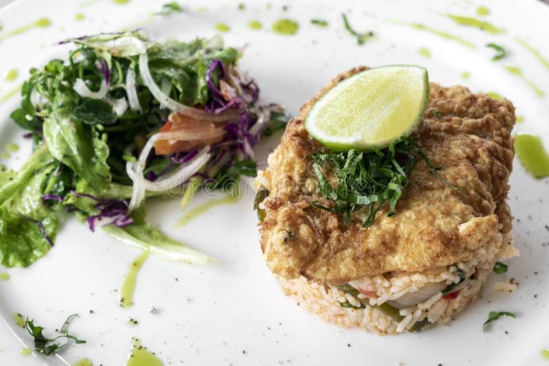 Fresh fried battered cod fish fillet summer light lunch meal royalty free stock images