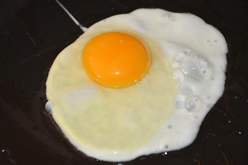 Fresh fried egg, fast food. Breakfast cooking in the frying pan royalty free stock photo