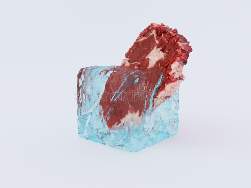 Fresh frozen meat in an ice cube 3d render vector illustration