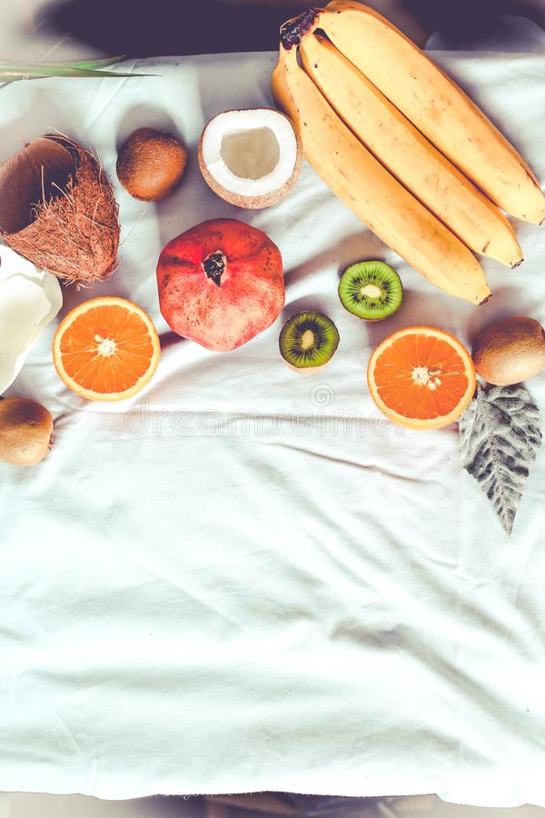 Fresh fruit background. Healthy eating and dieting concept. Winter assortment. Top view. Tone. royalty free stock photos