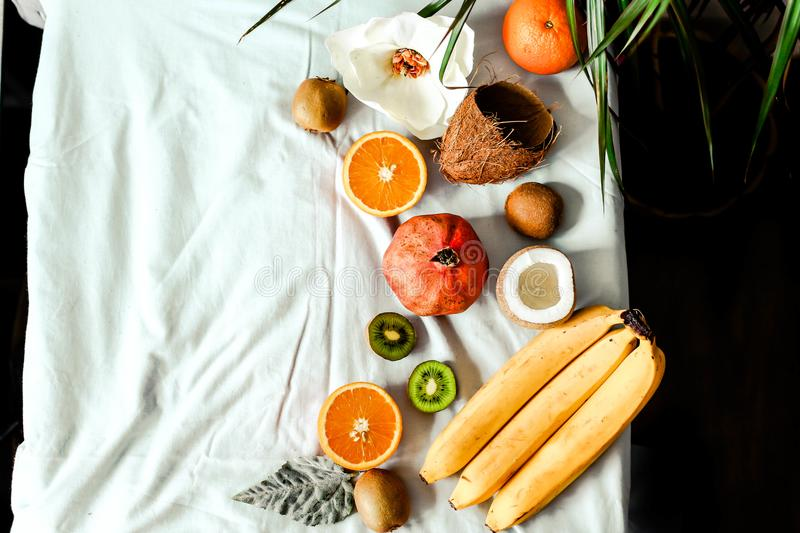 Fresh fruit background. Healthy eating and dieting concept. Winter assortment. Top view stock images