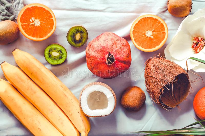 Fresh fruit background. Healthy eating and dieting concept. Winter assortment. Top view. Toning. stock photos