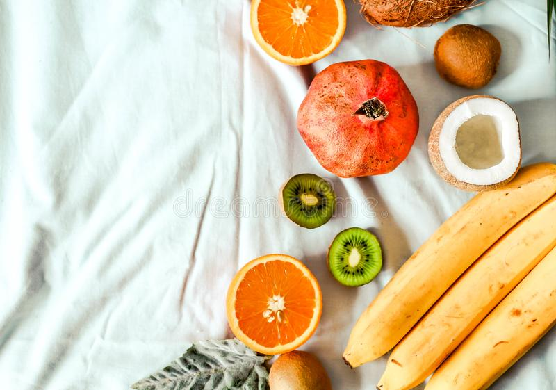 Fresh fruit background. Healthy eating and dieting concept. Winter assortment. Top view stock photos