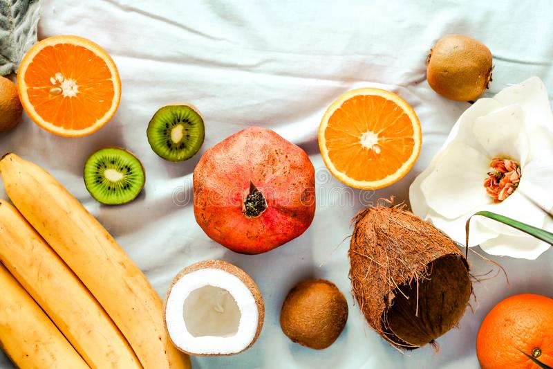 Fresh fruit background. Healthy eating and dieting concept. Winter assortment. Top view royalty free stock image
