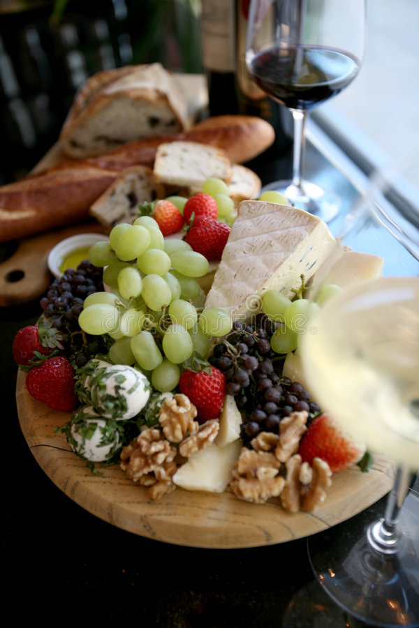 Fresh Fruit and Cheese Platter royalty free stock photography