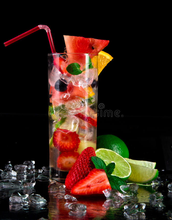 Fresh fruit cocktail royalty free stock photo