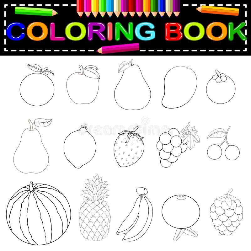 Fresh fruit coloring book vector illustration