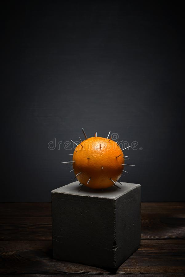 Fresh fruit on dark background on concrete stand. Juicy orange with sharp thorns stock image