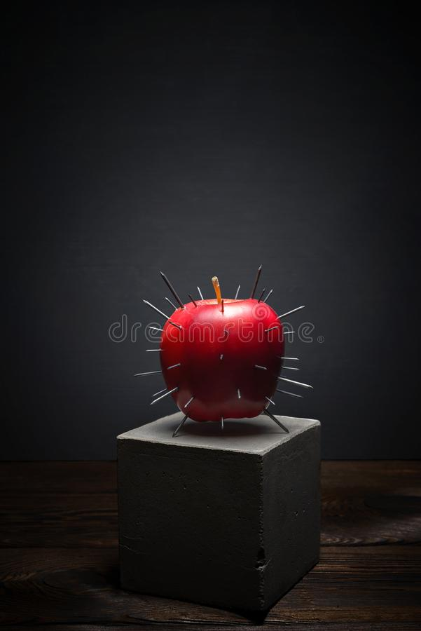 Fresh fruit on dark background on concrete stand. Juicy red Apple with sharp thorns stock images
