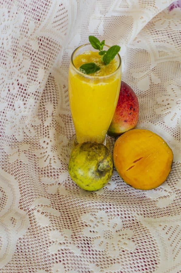 Fresh Fruit Juice Of Mango And White Sapote stock photo