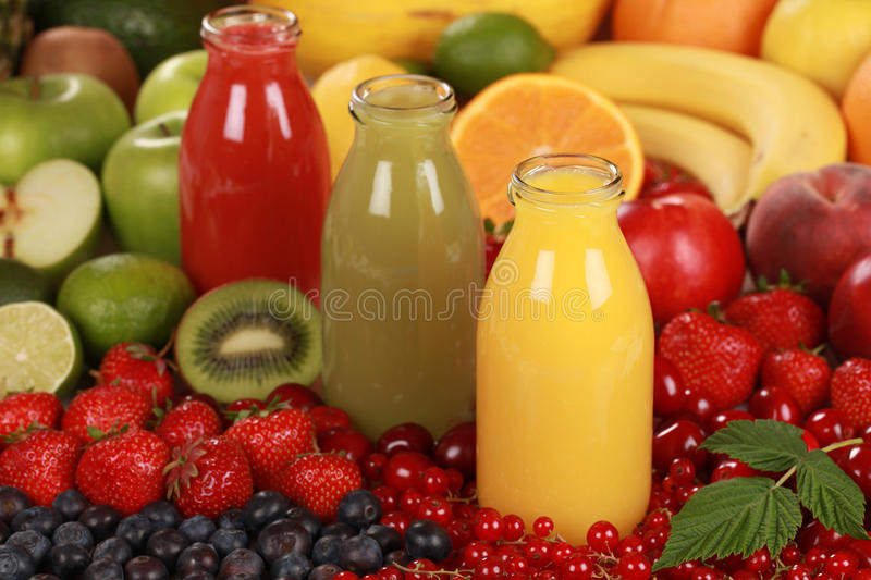 Fresh fruit juices stock image