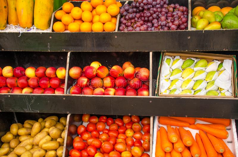 Fresh fruit in the market sale royalty free stock photo