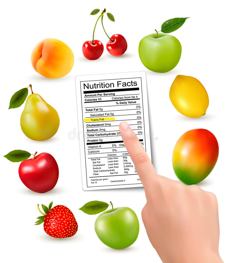 Fresh fruit with a nutrition facts label and hand. royalty free illustration