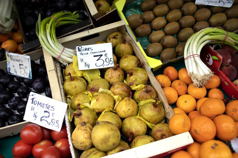 Fresh fruit in a Parisian farmers market royalty free stock image
