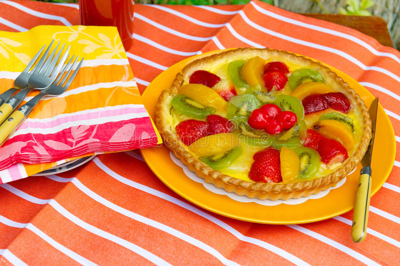 Fresh Fruit Pie With Napkins Stock Images