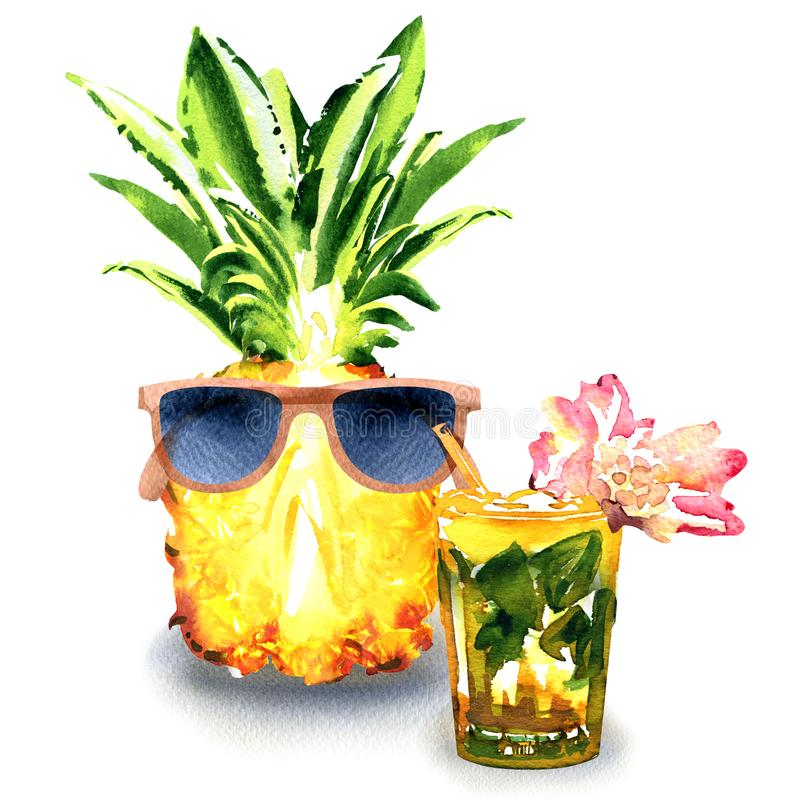 Fresh fruit pineapple with sunglasses and mojito cocktail with lime, mint, pink flower in glass isolated, summertime vector illustration