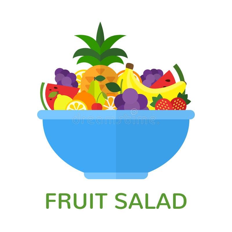 Fresh fruit salad in blue bowl isolated on white background. Healthy food concept. Vegan menu. Vector illustration vector illustration