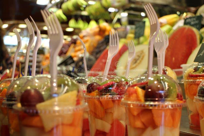 Fresh fruit salad. Exotic fresh fruit salad in street market stock photos
