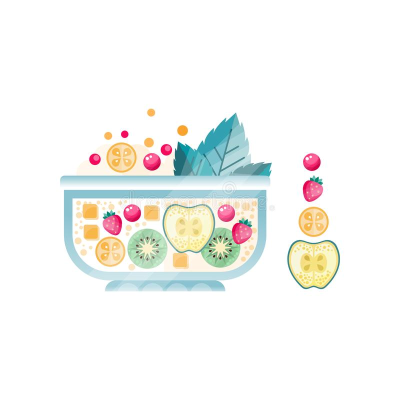 Fresh fruit salad in glass bowl. Sweet dish from ripe apple, strawberry, kiwi, cranberry and mint leaves. Vegetarian stock illustration