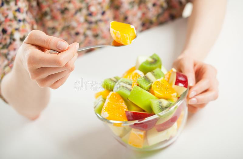 Fresh fruit salad for healthy lunch stock photography
