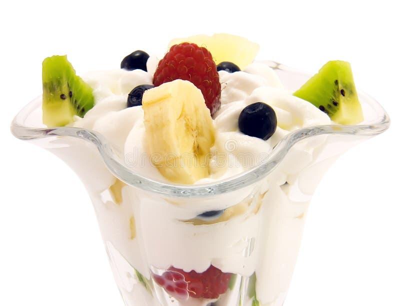 fresh fruit salad with whipped cream stock image  image