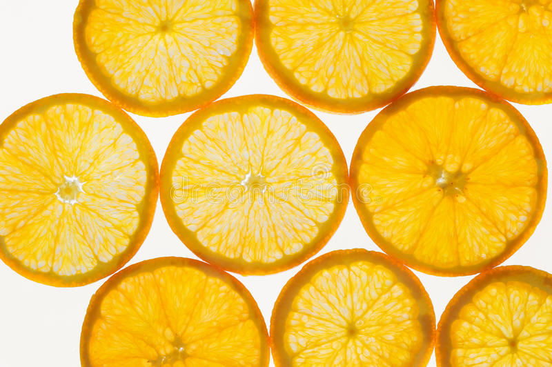 Fresh fruit slices abstract seamless pattern background, oranges royalty free stock photography