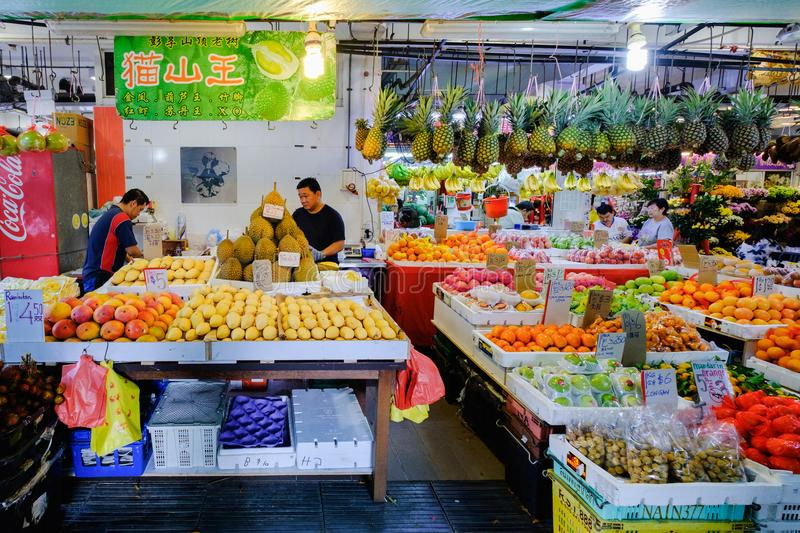Fresh fruit and vegetable market in the morning in Singapore stock photos
