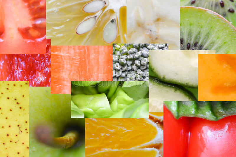 Fresh fruit and vegetable rainbow macro or close up royalty free stock photo