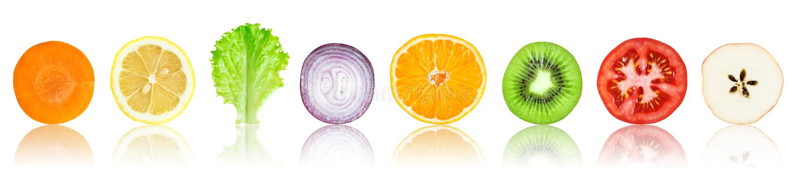 Fresh fruit and vegetable slices. Collection of fresh fruit and vegetable slices on white background stock illustration