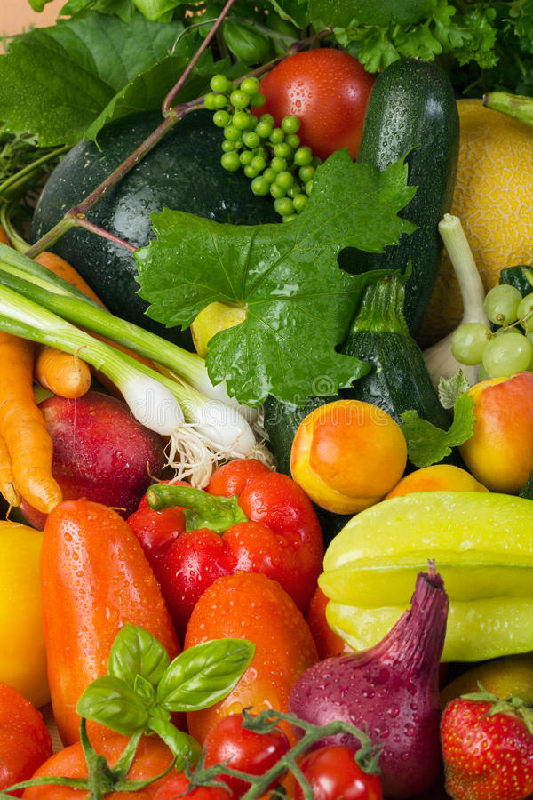 Fresh fruit and vegetables stock image