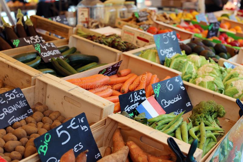 Fresh fruit and vegetables at farmer market in France, Europe. Italian Spanish and French vegetable. Street French market at Nice. stock image