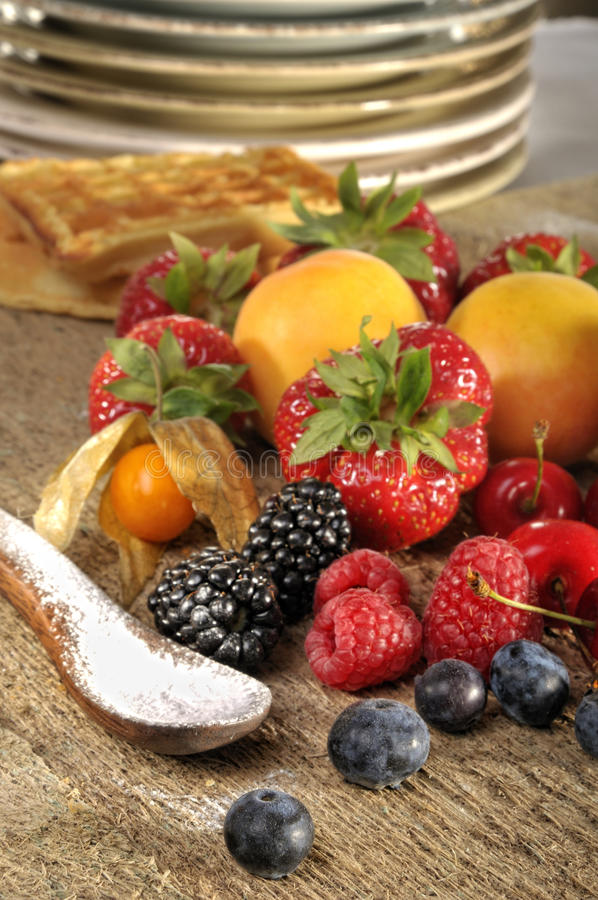 Fresh fruit and waffles royalty free stock photography