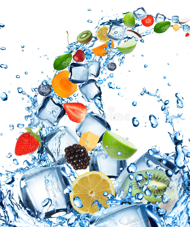 Fresh fruit in water splash stock images