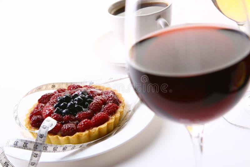 Fresh fruitcake with black coffee royalty free stock photos