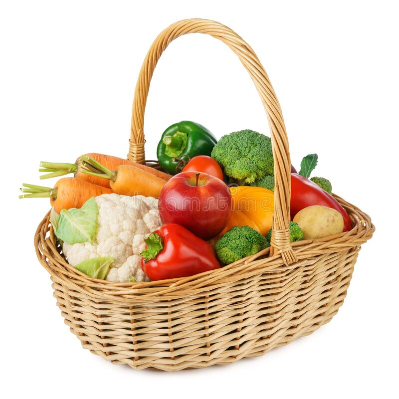 Free Fresh Fruits And Vegetables In A Wicker Basket. Isolated Stock Image - 175269201