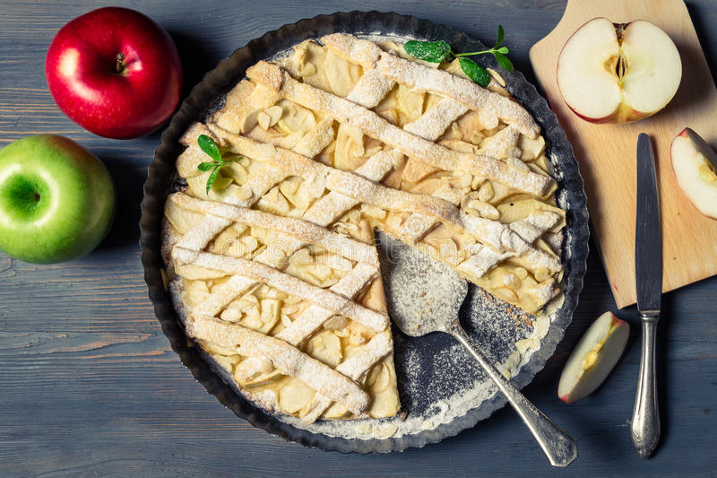Fresh fruits and baked apple pie royalty free stock photos