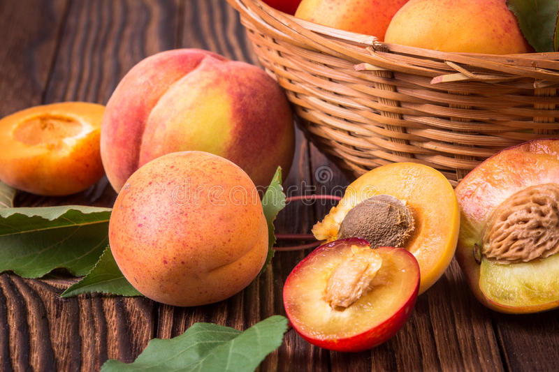 Fresh fruits in a basket. Whole and half peaches, plums and apricots in a basket royalty free stock photo