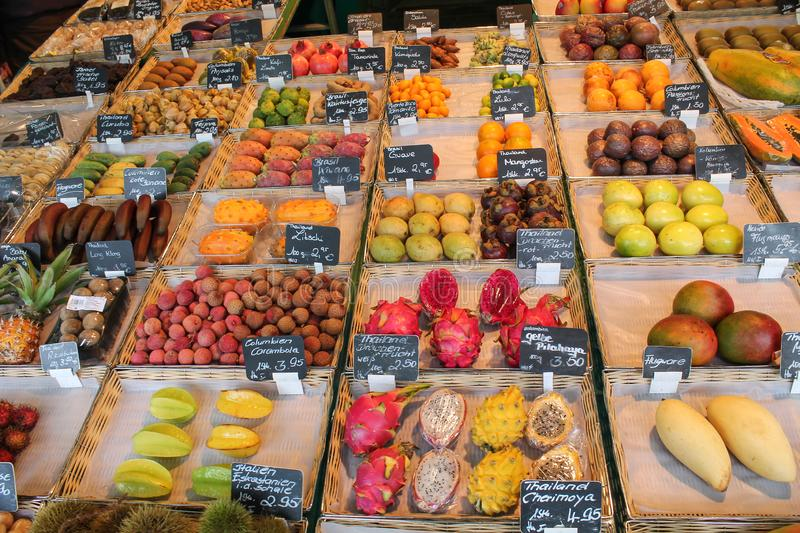 Fresh fruits at a Fruit stand in a local market in Austria royalty free stock photos