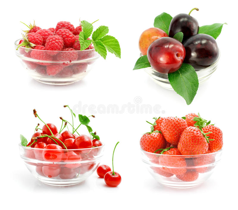 Download Fresh Fruits With Green Leaves In The Glass Vase Stock Photos - Image: 10354063