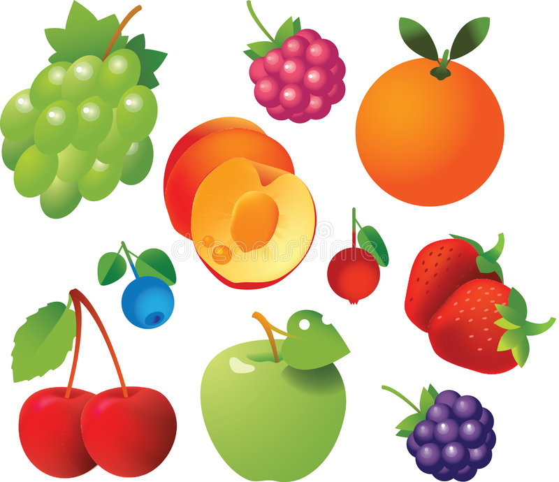 Fresh Fruits Icons Stock Images