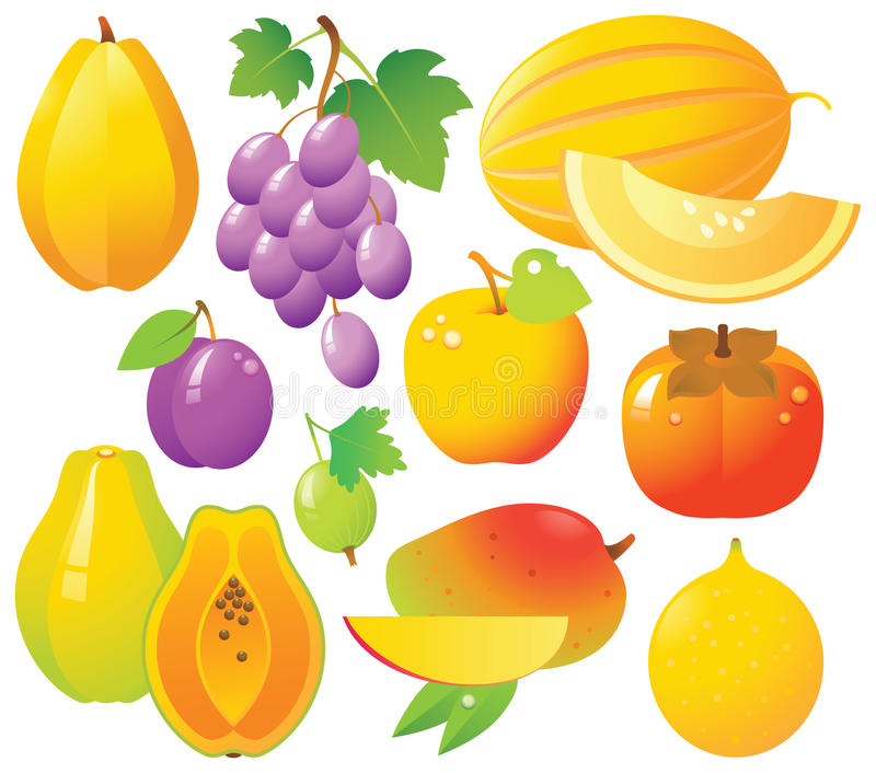 Download Fresh Fruits Icons stock vector. Image of melon, ripe - 9459555