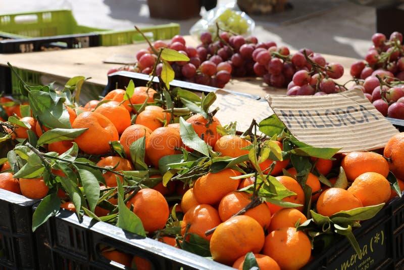 Fresh fruits at a market stock photo