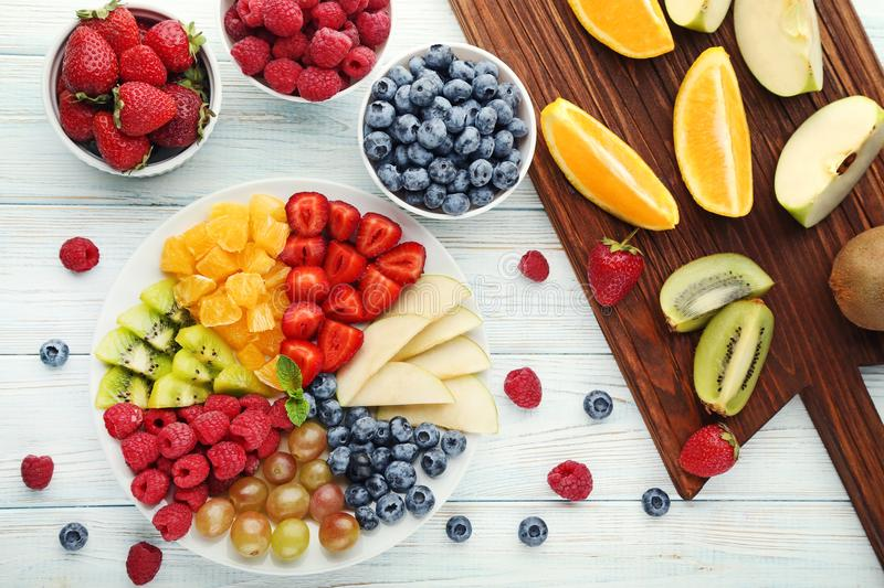 Fresh fruits in plate royalty free stock image